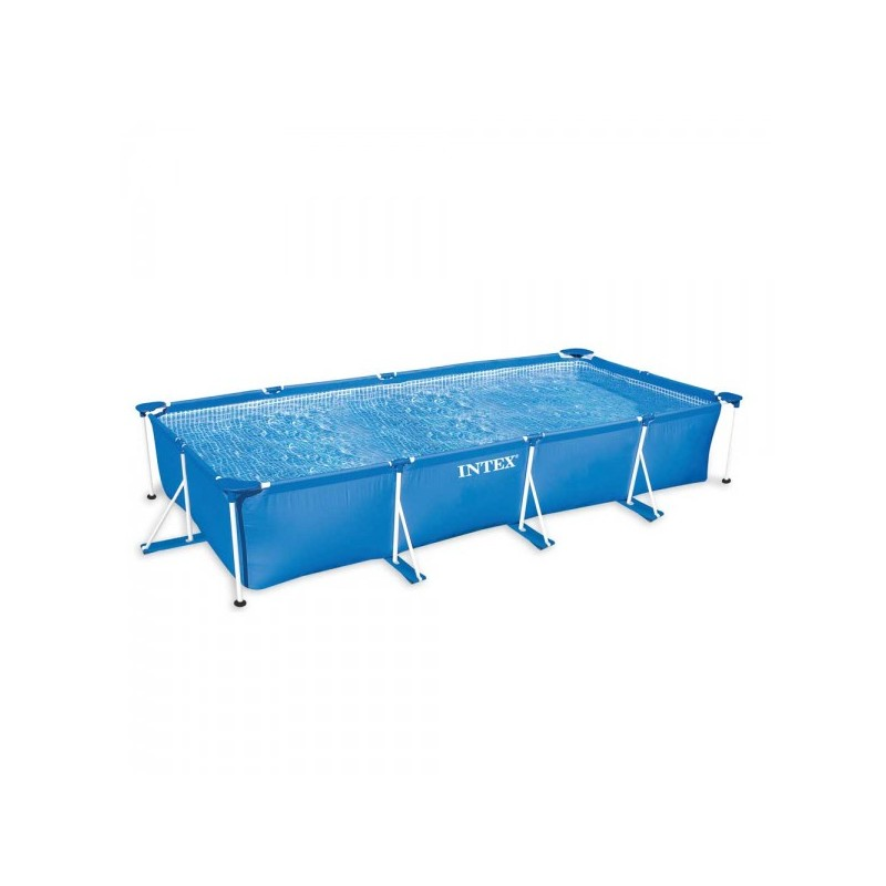 Intex rectangle metal frame pool 450 x 220 x 84 cm for Zwembad metaal